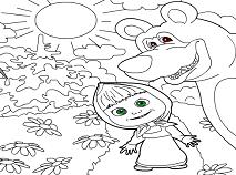 Coloreaza pe Masha si Ursul