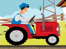 Tractorul Rosu cu Remorca
